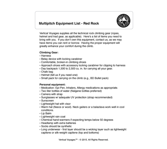 Multipitch Equipment Checklist Thumbnail